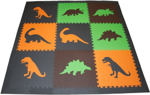 SoftTiles Large Premium Interlocking Dinosaur Foam Mat with Sloped Borders- Earth Set- 6.5' x 6.5' mat- covers over 36 sqft.