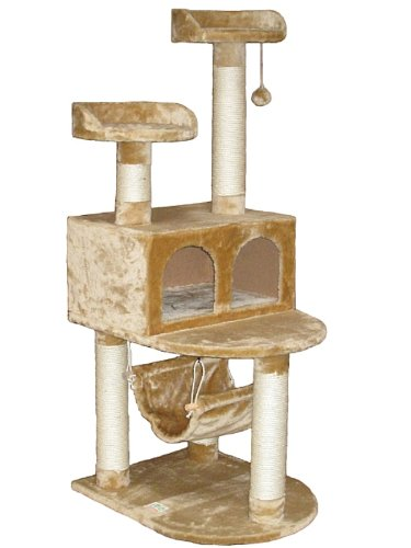 Cat Tree Condo House - 21W x 24L x 54H Inches, Beige