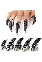 Ctronics Gothic Punk Style 3 Sizes Crystal Rhinestone Paved Paw Bend Fingertip Finger Claw Ring Set Fake False Nails Set Cosplay Decoration (Black/10PCS)