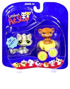 Buy Low Price Hasbro Littlest Pet Shop Pet Pairs Figures Grey Cat & Mouse on Cheese (B000UJWBQM)