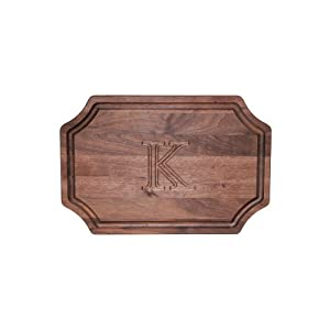 """CHUBBCO W320-K Carving Board with Scalloped Corners, 15-Inch by 24-Inch by 1.25-Inch, Monogrammed """"K"""", Walnut"""