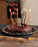 TAG Orange and Black Halloween Birthday Party Cake Candles, Set of 24, Wavy Mini Taper Style