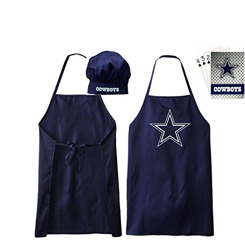 Dallas Cowboys Apron and Chef Hat and Dallas Cowboys Playing Cards (Cowboys Chef Hat And Apron Set compare prices)