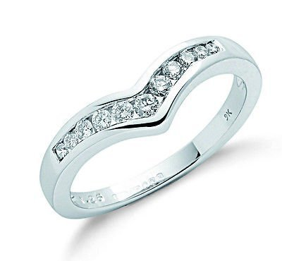 J R Jewellery 407604 9ct White Gold 0.25CTW Real Diamond Rounds Wishbone Eternity Ring