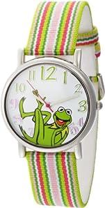 Muppets Women's MU1010 Kermit the Frog Dial Multi-colored Stripe Grosgrain Strap Watch