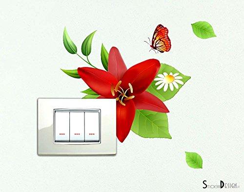Adesivo per interruttore spine placche adesivo Floreale Wall Stickers Fiore decorativo Adesivi Murali Decorazione interni Casa