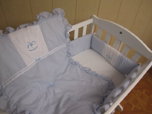 Baby Doll Bedding Gingham Port-a-Crib Bedding Set, Rocking Horse Blue