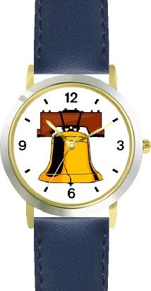 Liberty Bell American Theme - Watchbuddy® Deluxe Two-Tone Theme Watch - Arabic Numbers - Blue Leather Strap-Size-Large ( Men'S Size Or Jumbo Women'S Size )