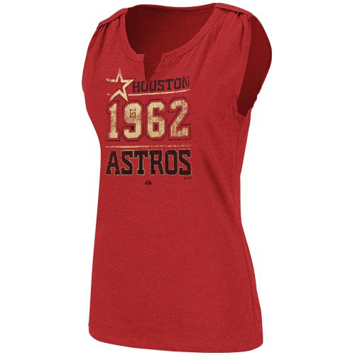 Majestic Houston Astros Ladies Red Diamond Diva Heathered Split-Neck Tank Top (Large)