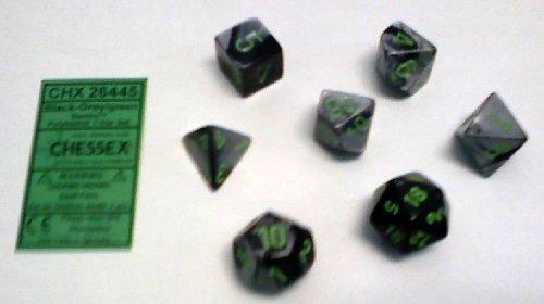 Polyhedral 7-Die Gemini Dice Set: Black & Grey With Green (D4, D6, D8, D10, D12, D20 & D00)