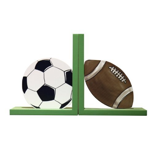 Adeco Decorative Soccer Ball Football Child's Wood Sports Bookends (Set of 2)