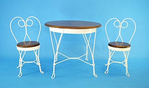 Antique Reproduction Childs Ice Cream Parlor Furniture Set. Table and 2 Chairs.Table is 19.5 Inches high x 23.5 Inches in Diameter. White. (Ice Cream Furniture compare prices)
