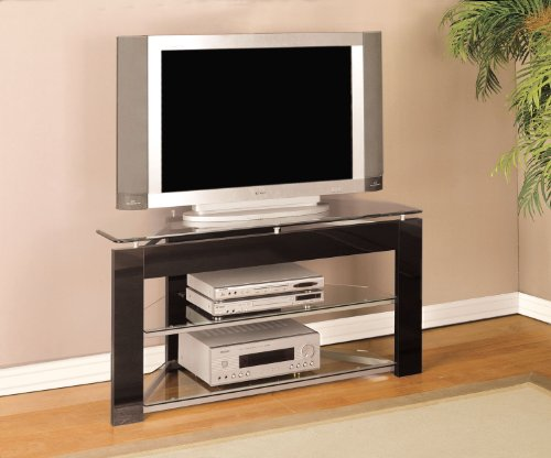 Cheap Black and Glossy Silver TV Stand (938-802)