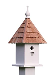 Lazy Hill Farm Designs 41550 Loretta Bird Feeder White Solid Cellular Vinyl with Natural Redwood Shingle Roof, 11-Inch by 23-Inch