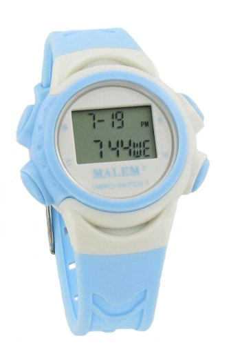 Malem Vibro-Watch 12 Alarm Vibrating Watch - White/Light Blue