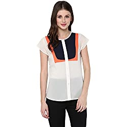 STYLEBAY Women Off-White Georgette Top (CST003, Small)