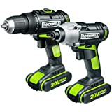 Rockwell RK1806K2 20V Lithium Ion Drill and Driver Combo Kit, Plus Free Replacement Batteries for Life