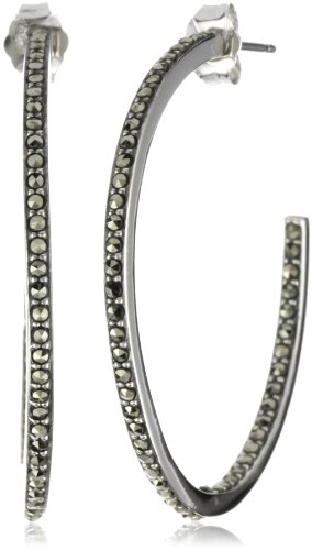 Judith Jack Sterling Silver Marcasite Pave Inside and Outside Hoop Earrings