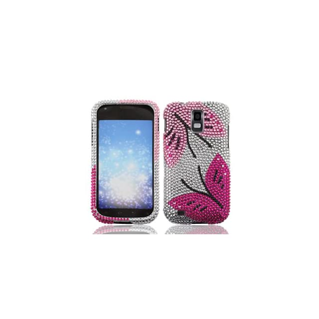 Samsung Galaxy S II S2 S 2 / SGH T989 T Mobile TMobile / Hercules Cell Phone Full Crystals Diamonds Bling Protective Case Cover Silver with Hot Pink Black Twin Butterflies Design