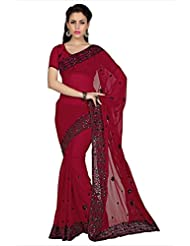 Designersareez Women Brick Red Faux Georgette Saree With Unstitched Blouse (1591)