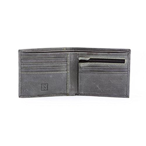Portafoglio uomo vintage in vera pelle vissuta portamonete e carte con zip DUDU Nero