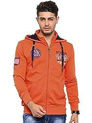 Showoff Men's Full Sleeves Solid Orange Casual Sweatshirt