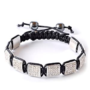 White Crystals Black Macrame Beaded Square Shamballa Unisex Bracelet