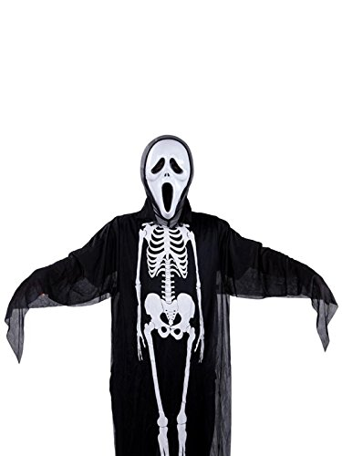 Menglihua Scary Ghost Skull Skeleton Face Mask Costume Morphsuit Set For Halloween A Set For Adult (Adult Care Bears Cheer Bear Costume)