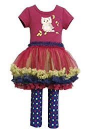 Fushia Owl Applique Tutu Legging Set 2T