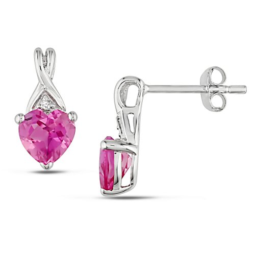 Sterling Silver 2 CT TGW Created Pink Sapphire 0.02 CT TDW Diamond Heart Earrings (G-H, I3)