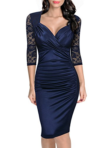 Miusol Women's Deep-V Neck Ruffles Floral Lace Fitted Retro Evening Pencil Dress