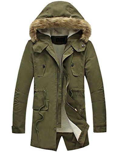 LILBETTER Men's Winter Lamb Wool Inner Warm Parka Faux Fur Hooded Coat Outerwear