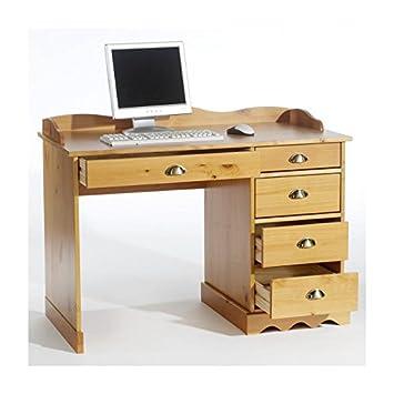 schreibtisch b rotisch honigfarben mit aufsatz us118. Black Bedroom Furniture Sets. Home Design Ideas