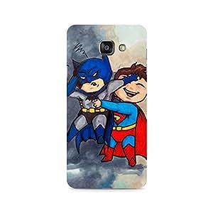 Motivatebox - Batman and Superman Kids Samsung Galaxy A7 2016 cover - Polycarbonate 3D Hard case protective back cover. Premium Quality designer Printed 3D Matte finish hard case back cover.