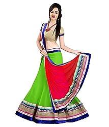 Krishna Enterprise Women's Green And Pink Coloured FencyLehenga