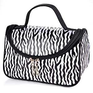 Zebra Pattern Black Makeup Cosmetic Case Hand Bag Pocket Bag Pouch