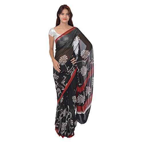 Saundarya Sarees Women Chiffon Printed Black and White Saree