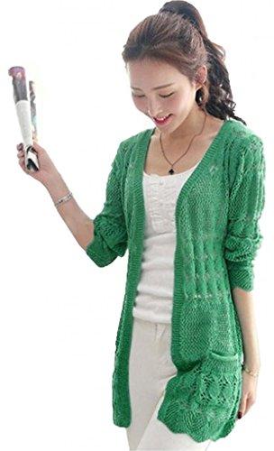 Womens Casual Long Sleeve Cardigan Hollow Knit Knitwear Sweater Coat Jacket