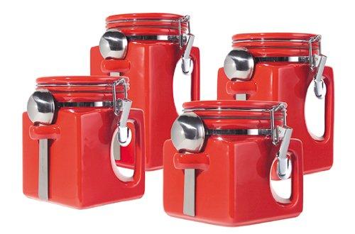 Oggi EZ Grip Handle 4-Piece Ceramic Airtight Canister Set, Red