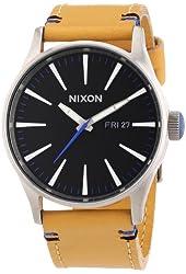 Nixon Sentry Black Dial Tan Leather Mens Watch A1051602