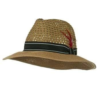 Men's Large Brim Straw Fedora Hat - Bronze W19S52C at Amazon Men's