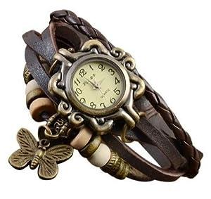 Eswan einzigartige Weinlese-Bronze Damen Schmetterling Weave Wrap-Leder-Armband-Anhänger-Quarz-Uhren (Braun)