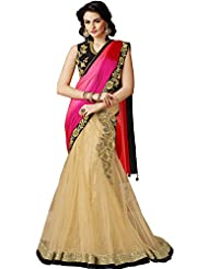 Sapphire Fashions Women's Off-White Net Saree