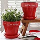 Personalized Red Flower Pot - Hearts Grow With Love