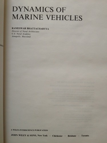 Dynamics of Marine Vehicles (Ocean engineering)