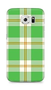 Amez designer printed 3d premium high quality back case cover for Samsung Galaxy S6 (Green Laid Pattern)