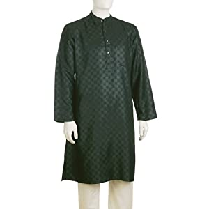 Men's Tussar Cotton Printed Long Kurta|44|Green
