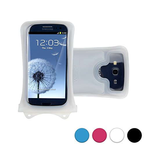 DiCAPac WP-C1 Custodia Impermeabile Universale per Smartphone da Motorola ATRIX HD MB886 / Electrify 2 XT881 in Bianco (Sistema di Chiusura Doppio Velcro; Protezione Impermeabile Certificata IPX8 Fino a 10 M; Dispositivo Airbag di Protezione e Galleggiamento Integrato; Obiettivo Fotocamera in Policarbonato Super Nitido; Laccio da Collo Compreso)