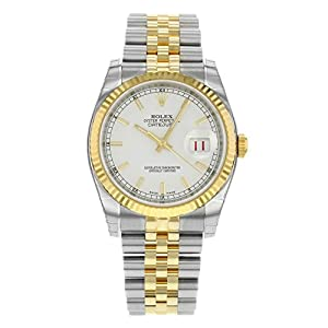 Rolex Datejust White Index Dial Jubilee Bracelet Fluted Bezel Two-tone Mens Watch 116233WSJ from Rolex