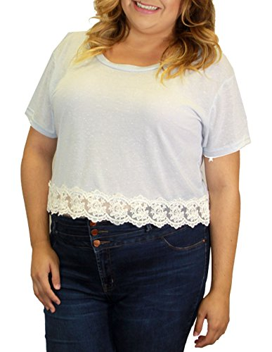 Crop Top PLus Size Juniors Lace Soft Material Short Sleeve (2X, BLUE) (Jr Plus Size Tops compare prices)